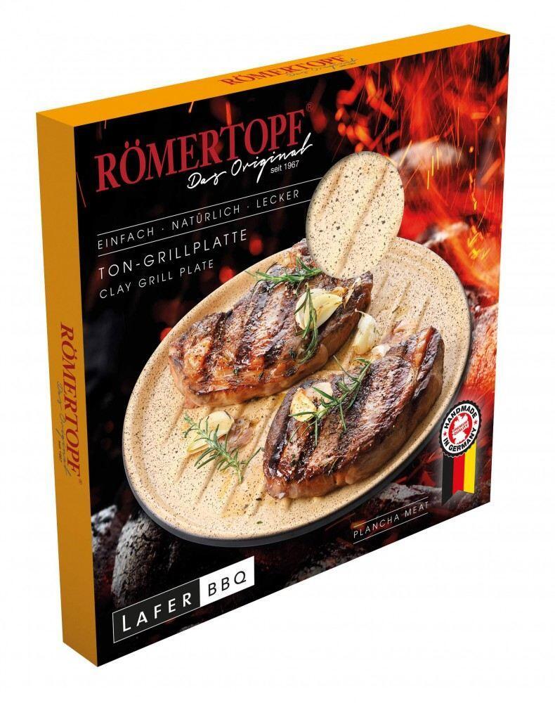 RÖMERTOPF Lafer BBQ Plancha rund mit Grill-Noppen 32 cm