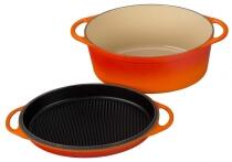 Le Creuset Bräter aus Gusseisen oval mit Grilldeckel in ofenrot