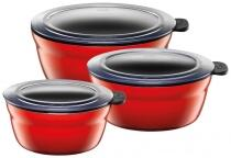 Silit Frischhalteschüsseln Fresh Bowls in Energy Red, 3er-Set