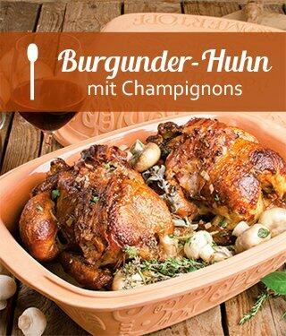 Burgunder Huhn Aus Dem Römertopf Kochform
