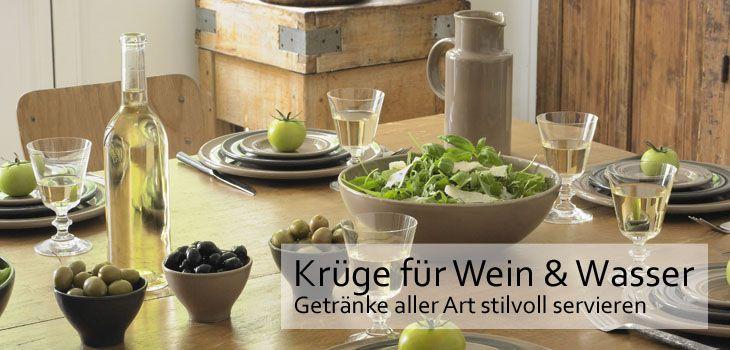 Krüge für Wein & Wasser - Getränke aller Art stilvoll servieren