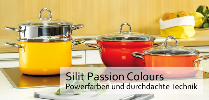 silit kochtopfserie passion colours f r gesundes kochen bei kochform. Black Bedroom Furniture Sets. Home Design Ideas